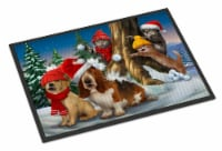 Basset, Golden and Cats Snowball Fight Indoor or Outdoor Mat 24x36