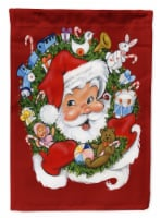 Carolines Treasures  PJH3022GF Santa Claus Wreath of Cheer Flag Garden Size