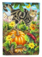 Cat Fuzzy in the Pumpkin Patch Flag Canvas House Size