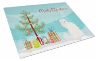 Asian Semi Longhaired Cat Merry Christmas Glass Cutting Board Large