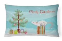 White Domestic Mouse Merry Christmas Canvas Fabric Decorative Pillow