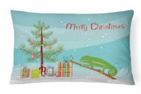 Carolines Treasures  CK4540PW1216 Chameleon Merry Christmas Canvas Fabric Decora - 12Hx16W