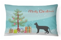 Black Cornish Rex Cat Merry Christmas Canvas Fabric Decorative Pillow
