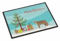 California Spangled #2 Cat Merry Christmas Indoor or Outdoor Mat 24x36