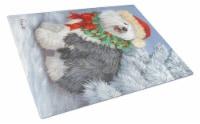 Old English Sheepdog Christmas Glass Cutting Board Large - 12Hx15W