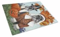Schnauzer Thanksgiving Pilgrims Glass Cutting Board Large
