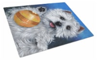 Carolines Treasures  PPP3223LCB Westie Play Ball Glass Cutting Board Large