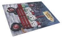 Westie Christmas Red Wagon Glass Cutting Board Large - 12Hx15W