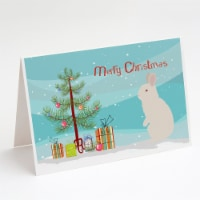 New Zealand White Rabbit Christmas Greeting Cards and Envelopes Pack of 8 - A7