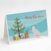Khao Manee Cat Merry Christmas Greeting Cards and Envelopes Pack of 8 - A7