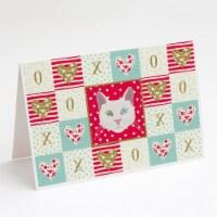 Carolines Treasures  CK5123GCA7P Khao Manee Cat Love Greeting Cards and Envelope - A7