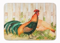 """Chicken and Rooster by Ferris Hotard Machine Washable Memory Foam Mat - 19 X 27"""""""