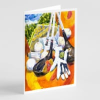 Golf Clubs, Ball and Glove Greeting Cards and Envelopes Pack of 8 - A7