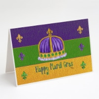 Happy Mardi Gras Crown Greeting Cards and Envelopes Pack of 8 - A7