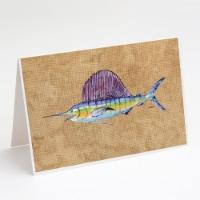 Carolines Treasures  8813GCA7P Swordfish Greeting Cards and Envelopes Pack of 8 - A7