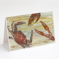 Crab, Shrimp, Oyster Yellow Sky Greeting Cards and Envelopes Pack of 8 - A7
