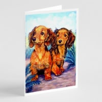 Long Hair Red Dachshund Two Peas Greeting Cards and Envelopes Pack of 8 - A7