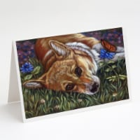 Corgi Pastel Butterfly Greeting Cards and Envelopes Pack of 8 - A7