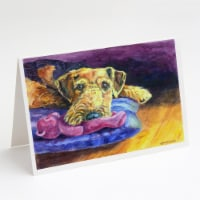 Airedale Terrier Teddy Bear Greeting Cards and Envelopes Pack of 8 - A7