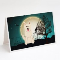 Halloween Scary White German Shepherd Greeting Cards and Envelopes Pack of 8 - A7