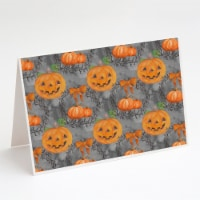 Watecolor Halloween Pumpkins Greeting Cards and Envelopes Pack of 8 - A7