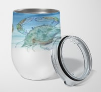 Crabs Shrimp and oysters Stainless Steel 12 oz Stemless Wine Glass - 12 oz