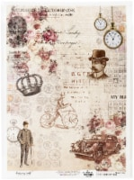 Dress My Craft Decopatch Rice Paper A3 -Cogs In Time - 1