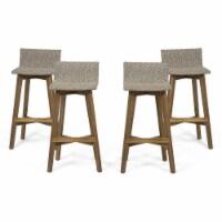 Noble House La Brea Wood & Wicker Barstools (Set of 4) Light Brown/Teak - 1