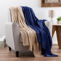 Fleece Throw Blanket-Set of 2 Navy Blue & Sand Plush 50 x 60 Soft and Snuggly Couch Chair - 1 unit