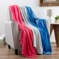 Fleece Throw Blanket- Set of 3- Blue, Gray & Pink Plush 60 x 50 Throw Blankets- Soft & Cozy - 1 unit