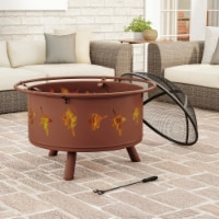 Outdoor Deep Fire Pit- Round Large Steel Bowl with Leaf Cutouts, Mesh Spark Screen, Log Poker - 1 unit