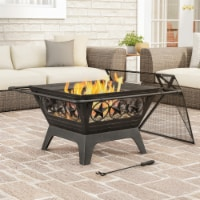 Large 32 Inch Outdoor Fire Pit Star Design 25 Inch Bowl Metal Mesh Spark Cover PVC Storage - 1 unit