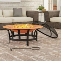 Outdoor Deep Fire Pit- Round Large Copper Colored Steel Bowl, Mesh Spark Screen, Log Poker & - 1 unit
