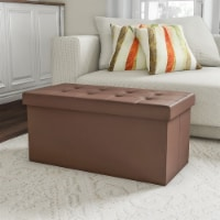 Folding Storage Bench Ottoman Faux Brown Leather-Foam Padded Lid-Removable Bin-Organizer for - 1 unit