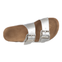 Totes Women's Double Buckle Slide Sandals - Silver - 11
