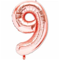 Rose Gold Foil Number 9 Party Balloons (40 in, 2 Pack) - PACK