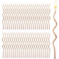 Metallic Rose Gold Swirl Birthday Cake Candles (5 In, 48 Pack) - PACK