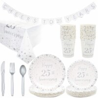 Blue Panda 25th Anniversary Party Supplies (Serves 24, 146 Pieces in Total) - Pack