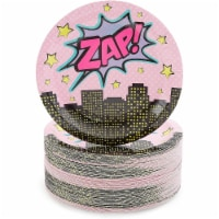 Pink Comic Book Paper Plates for Girls Hero Birthday Party (7 Inches, 80 Pack) - PACK