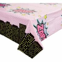 Girl Hero Comic Book Plastic Table Covers (54 x 108 in, 3 Pack) - PACK