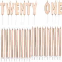 Twenty One 21st Birthday Cake Topper with Thin Candles in Holders (Rose Gold, 33 Pack) - Pack