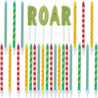 Roar Dinosaur Cake Topper and Thin Printed Candles (28 Pieces) - PACK