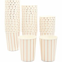 Blue Panda Party Paper Cups with Rose Gold Foil Stripes – Pack of 50, 9 oz - PACK