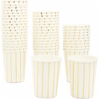 Disposable White Party Paper Cups with Gold Foil Stripes (Pack of 50, 9 oz) - PACK