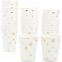 Blue Panda Party Paper Cups with Gold Square Confetti – Pack of 50, 9 oz - PACK