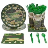 Camouflage Dinnerware Set and Party Supplies (144 Pieces, Serves 24)