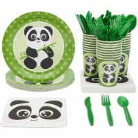 Animal Panda Birthday Party Supplies and Dinnerware Set (144 Pieces, Serves 24) - Pack