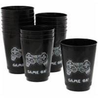 Video Game Party Cups for Kids Birthday (16 oz, Black, 16 Pack)