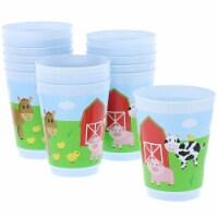 Blue Panda Plastic Party Cups 16 Pack - Farm Animal Reusable Tumblers - 16 oz
