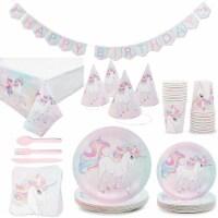 Rainbow Unicorn Birthday Party Kit (Serves 24, 194 Total Pieces)